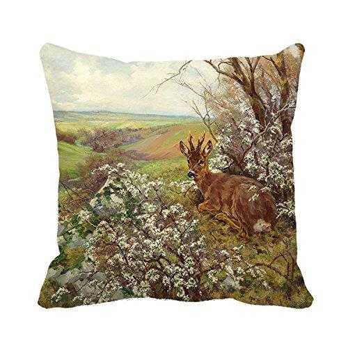 warrantyll Überwurf Kissen Bezug Vintage Painted Deer Kissenbezüge Home Couch Dekorative Kissen, canvas, #Color 1, 18*18 - Deer Dekorative Kissen