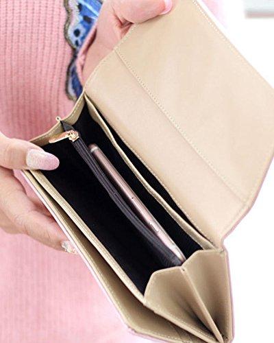 Donna Portafoglio con stile Chiusura in metallo PU pelle Cartella con Cerniera Frizione Borsetta Blu zaffiro Pink