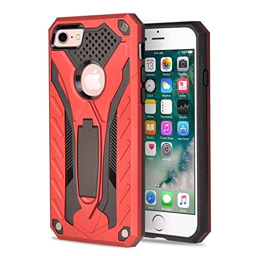 """MOONCASE iPhone 7 Plus Coque, Robuste Armure Hybride Anti-chocs Housse Etui Protection de Double Couche d'Armure Lourde Case avec Béquille pour iPhone 7 Plus 5.5"""" Rose Or Rouge"""