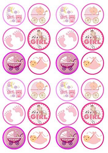 Its A Girl Mix, Der eine Mädchen Mischung, Taufe, Babyparty, Essbare PREMIUM Dicke GEZUCKERTE Vanille, Wafer Reispapier Cupcake Toppers/Dekorationen
