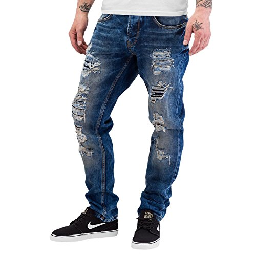Just Rhyse Homme Jeans / Jean Coupe Droite Destroyed Bleu