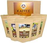 Kaffee Globetrotter - Bio-Box Ganze Bohne - für Kaffee-voll-automat, Kaffeemühle, Handmühle, Espressovollautomat - 5 Mal 100g Raritäten Spitzenkaffee - Fünf Kaffeesorten Aus Biologischem Anbau