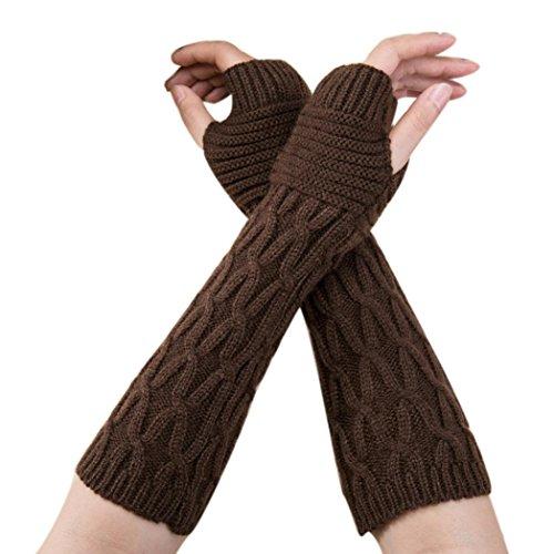 Stricken Damen Handschuhe SHOBDW Mode Frauen Winter Handgelenk Arm wärmer gestrickt lange fingerlose Handschuhe Handschuh (Kaffee) - Arm Wärmer Handschuhe