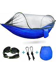 Camping hamaca, ispecle hamaca con mosquitera de alta resistencia paracaídas Nylon Hamaca Tienda de campaña plegable portátil y ligero hamacas para interior y exterior para Patio senderismo mochila, 01 Blue