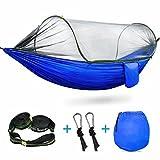 Hamaca con mosquitera (para acampada, fabricada en nailon, plegable y portátil), 01 Blue