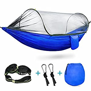 camping hammock, ispecle hammock with mosquito net high strength parachute nylon hammock tent lightweight portable foldable hammocks for outdoor indoor backyard hiking backpacking
