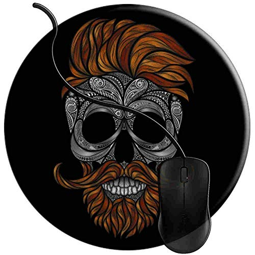 Mauspad Schädel Bart und Schnurrbart s, Runde Gaming Mauspad Matte Reibungslos Weich Rutschfester Gummi Basis für PC Laptop 1U697
