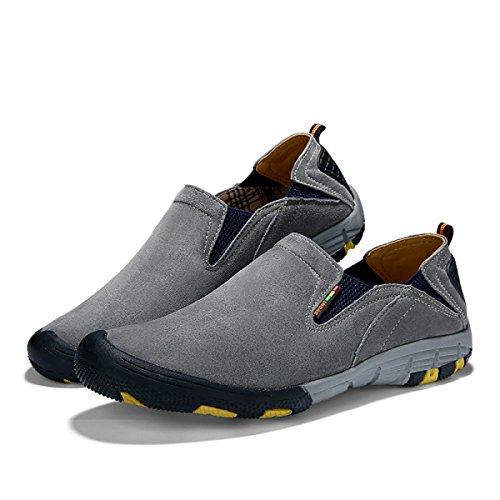 Autunno E Inverno Scarpe Da Uomo Calde Uomini Scarpe Da Trekking All'aperto Pelle Tempo Libero Scarpe Sportive Gray2