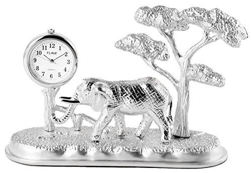 Flair Analog Reloj en miniatura mesa Reloj Reloj de pie con mecanismo de cuarzo y diseño elefante algodón 300422000153Plata coloreado Carcasa 10,2cm
