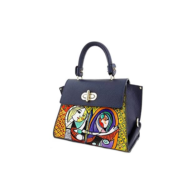 Hand-painted genuine leather shoulder bag – GIRL IN THE MIRROR BY PICASSO - Women Bag, Hand Bag, Genuine Leather, Made in Italy, Painted Leather, Handbag and Shoulder Bag, Craftsmanship - handmade-bags