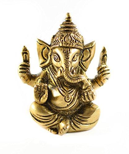 Messing Gold Ton Lord Ganesha Statue Auto Deco, Büro Decor, Tisch Decor Figur