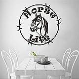 Hlonl Horse Life Vinyl Wandtattoo Pferdekopf Wandaufkleber Home Wohnzimmer Dekor Tiere Logo Wand Fenster Poster Vinyl Wandkunst 57 * 55 Cm