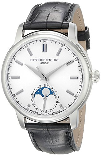 Frederique Constant Classics Moonphase FC-715S4H6 40.5mm Automatic Stainless Steel Case Black Leather Synthetic Sapphire Men's Watch
