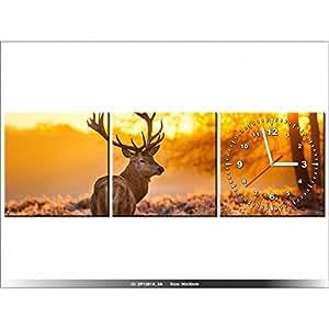 90 x 30 cm - CERF - HORLOGE MURALE TABLEAU - MODERNE - DECO - NEW DESIGN