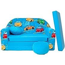 WELOX 4251064702287 Kindersofa Bett funktion 3in1-Kindersessel,Ausziehbett, hellblauAutos, Eierschalenfarbe