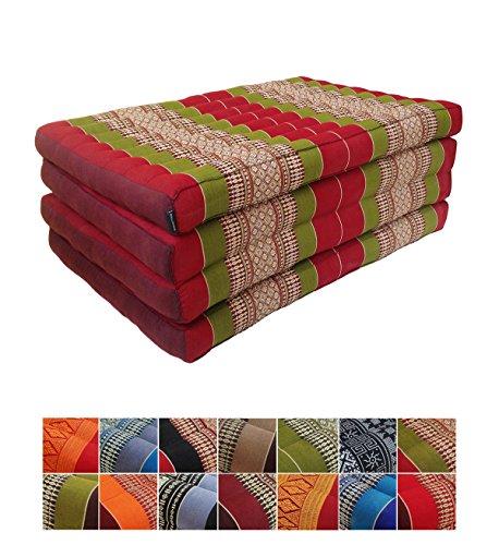 Collumino® Traditional Thai kapok pieghevole materasso per yoga massaggi o relax–lunghezza extra misura 200x 80cm Green, Burgundy