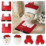 Unicoco, set decorativo di Natale per bagno, coprisedile e tappeto