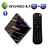 Android 8.1 TV Box 4GB RAM 64GB ROM, H96 MAX+ RK3328 Quad-Core 64 bits Smart TV Box, Soporte 2.4Ghz/ 5.0Ghz WiFi/ 4K H.265/ Bluetooth USB 3.0, Set-Top Box Caja de TV por Internet
