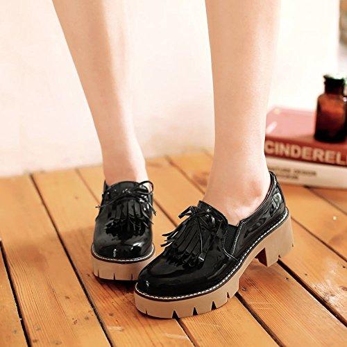 Mee Shoes Damen chunky heels mit Schleife Plateau Pumps Schwarz
