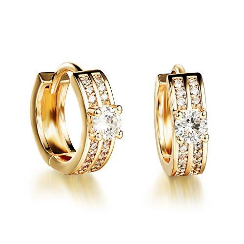 FaithYoo Orecchini da donna placcati oro 18K con zirconia cubica cerchio clip su orecchini per le donne fashion jewelry - 14k Oro Jade Stud