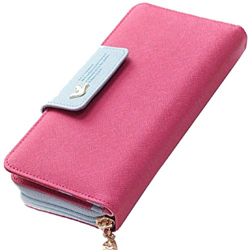 Bocideal Mode 1PC Vögel Muster langer Reißverschluss Handtasche Leder Geldbörse (Hot Pink) (Muster Geldbörse Niedliche)