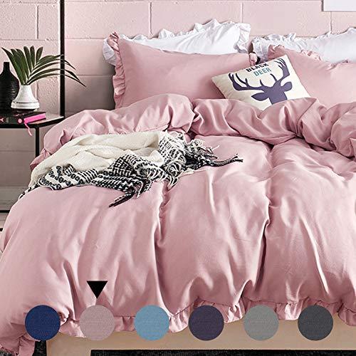 wäsche 135x200cm Rosa mit Rüschen 2-teilig Microfaser Bettbezug Kopfkissenbezug Mädchen Jugendliche Teenager Einzelbett ()