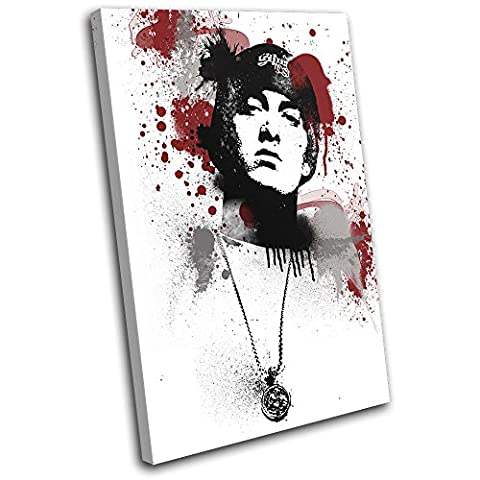 Bold Bloc Design - Eminem Grunge Abstract Musical 135x90cm SINGLE Canvas Art Print Box Framed Picture Wall Hanging - Hand Made In The UK - Framed And Ready To Hang