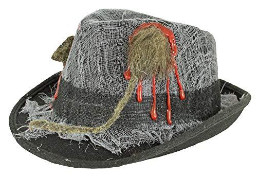 Kostüm Toten Gangster - Halloween Zombie Gangster Hut mit Ratte - Gruseliges Zubehör - perfekt zu Untoter Mafiosie, Toter Gangsterboss, Voodoo Kostüm