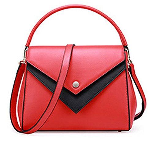 Sac en Cuir pour Femmes Hit-Color Portable Messenger Bag l'europe Le Sac à bandoulière Coutures Street Travail décontracté pour Voyager