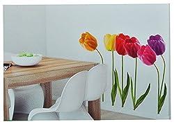 Xxl Wandsticker Sticker - Tulpen Mit Stengel - Frühlingsblumen Frühling - Selbstklebend Für Wohnzimmer Und Deko Wandtattoo Aufkleber Blumen