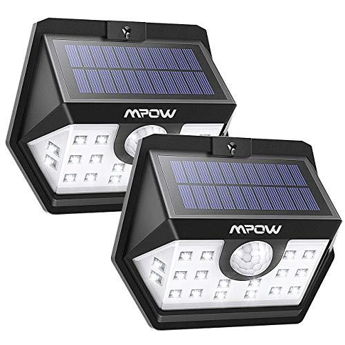 Solarlampen Für Außen Mpow 120 ° Weitwinkel Solarleuchte Außen IP65 Wasserdicht Sensorkopf 20 LED Solarleuchte mit Bewegungsmelder Superhelles Solarlampe für Weg, Garten, Garage, Balkon, Patio, Hof