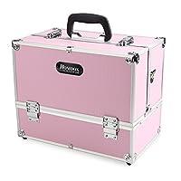 Homdox Kosmetikkoffer Schminkkoffer Friseurkoffer Beauty Case Schmuckkoffer Metall Pink