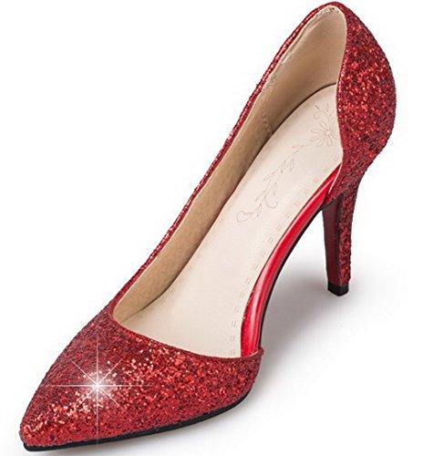 VogueZone009 Femme Tire Pointu Stylet Tissu à Paillette Couleur Unie Chaussures Légeres Rouge
