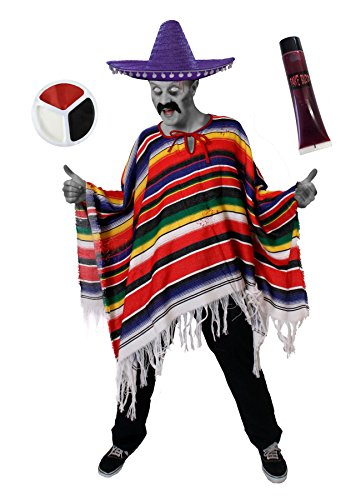 Der Kostüm Lila Toten Tag - ILOVEFANCYDRESS Zombie Mexikaner KOSTÜM VERKLEIDUNG = 1 Poncho + 1 Sombrero + Make UP + 1 KUNSTBLUT=Halloween ODER Tag DER Toten = MIT LILA Sombrero