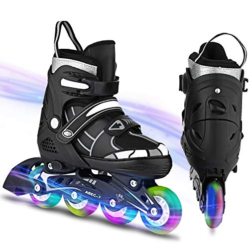 Inline Skates Kinder verstellbar mädchen/Jungen Inline Skates Rollschuhe PU Verschleißfeste Rollerskates Herren/Damen (39-42, Schwarz & Weiß)
