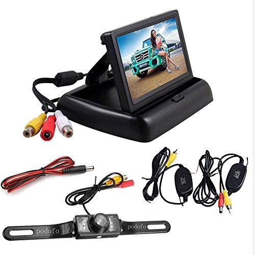 Rückfahrkamera Podofo® 4.3″ Faltbarer Drahtloser Auto Rückansicht TFT LCD Monitor mit wasserdichter Nachtsicht Parken Rückfahrkamera Installationssatz - 9