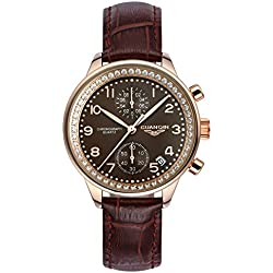 GUANQIN Fashion Formal Brand Women Analogue Waterproof Quartz Stainless Steel and Leather Calendar Chronograph Rhinestone Wrist Watch Simple Design Gold Coffee Brown