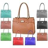 OBC Made in Italy Damen Leder Shopper Umhängetasche Tasche Schultertasche Tablet/Ipad bis ca. 10-12 Zoll