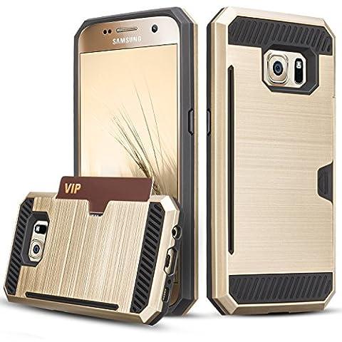Coque Galaxy S6, [Fente pour carte] Hybrid PC dur TPU Antichoc Double Couche Pare-chocs Anti-rayures Protection de Housse Etui Case pour Samsung Galaxy S6 S VI G9200 GS6