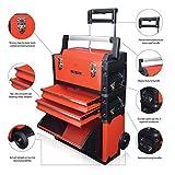 US PRO Tools IN acciaio rosso-Cassettiera Mobile-Carrello Trolley da viaggio 3-IN-1-Cassetta per...