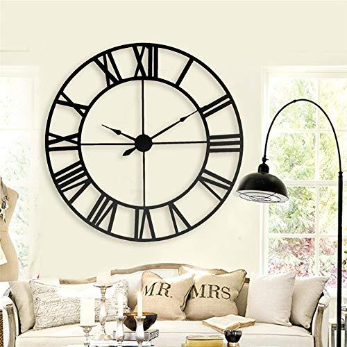 HMMSS Wanduhr Roman Digital Clock Große europäische Retro Schmiedeeisen Analoge Funk-Wanduhr Wohnzimmer Dekorative Wall Clock Einfache (Size : 100CM)