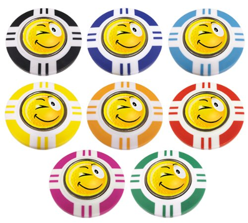 YELLOW SMILEY WINK VEGAS STYLE POKER CHIP GOLF BALL MARKER. YELLOW OUTER.