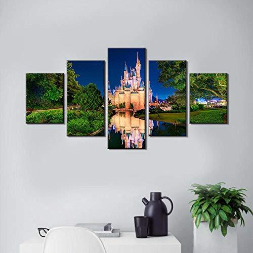 �dchen zimmer 5 panel leinwand wandkunst cinderellas schloss malerei fairtyle kunstwerk für wohnkultur moderne wohnzimmer rahmenlose 30 * 40 * 2 30 * 60 * 2 30 * 80 cm ()