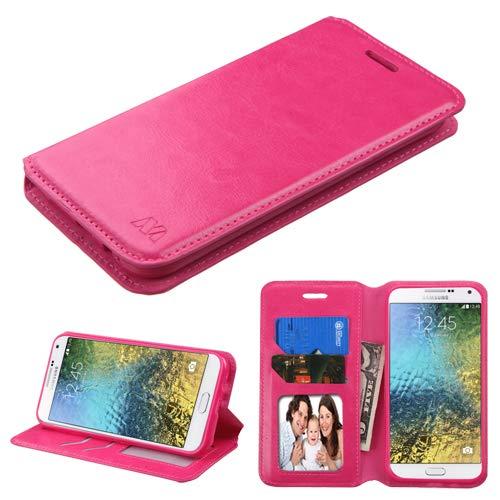 Fall + Stylus Pu-Leder Fall Passt Samsung s978l (Galaxy E5) MYBAT Hot Pink MyJacket Wallet Book Samsung Pink Transparent Faceplates