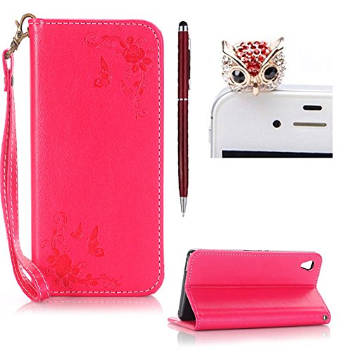 SKYXD Sony Xperia E5 Hülle Leder Rosen Blumen und Schmetterlings Muster,PU Folio Klappbar SchutzHülle [Brieftasche Kartenfach / Magnet / Standfunktion / Trageschlaufe] KlappHülle für mit [Eule Handyanhänger + Eingabestift] 3 in 1 Zubehör Set Handy Tasche Etui für Sony Xperia E5 Bookstyle Flip Case Leather Cover With [Stylus and Dust Plug]- Rot