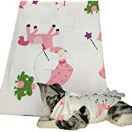 SHANNA Professional Cotton Sterilization Surgery Recovery Suit for Abdominal Wounds and Skin Diseases,E-Collar Alternative for Pet Cats and Dogs, After Surgery Wear (Pink Pony, M)