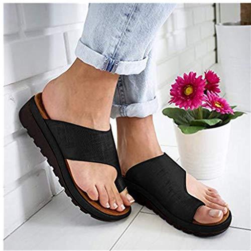 2019 Neu Womens Fashion Flats Open Toe Ankle Beach Shoes Roman Slippers Sandals Mode Retro Damen Big Toe Hallux Valgus Unterstützung Plattform Sandale Schuhe Für Die Behandlung,Schwarz,Grau,Silber - Baby-massage-behandlung