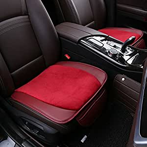 ankiv red 3pcs set universal fit 5 seats car soft warm velvet pu leather patchwork car seat. Black Bedroom Furniture Sets. Home Design Ideas
