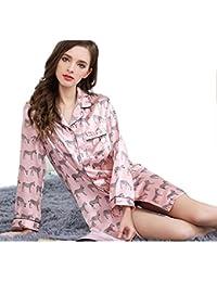 Sue Mujeres 100% Seda Pura Pijama Lady Inicio Ropa Ropa de Dormir Ropa de Dormir