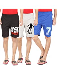 Hotfits Men's Cotton Self Design Shorts